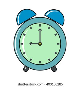 Clock cartoon icon isolated on a white background.
