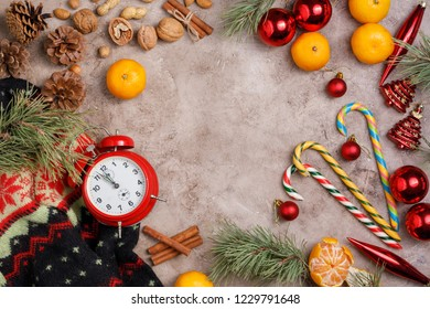 Clock. Christmas background. New Year's holiday. Christmas motive Top view. Free space for your text. Flat lay.