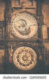 Clock decorated in Prague