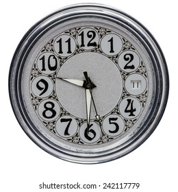 Clock dial old clock on a white background.