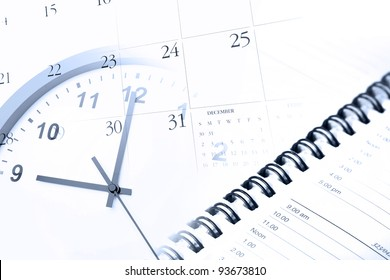 Clock, diary and calendar page