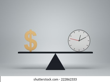 Clock and dollar sign balancing on a seesaw