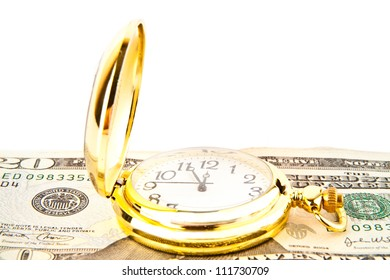 clock and dollars on a white background