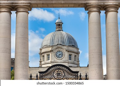 The clock and the dome of the Government Buildings - Tithe an Rialtais in Dublin, Ireland.