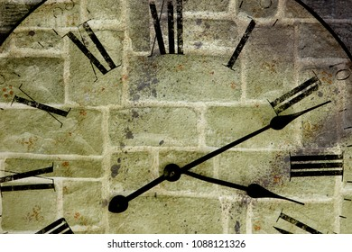 clock face and brick wall (double exposure )