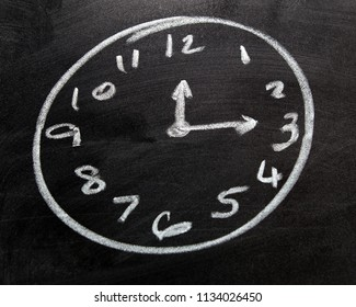 A clock face drawing.  Done with chalk on a black board.