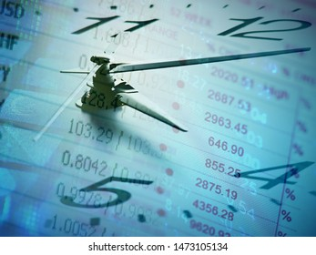 Clock face and finance data. Business concept.