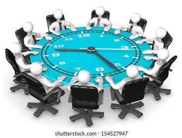 Clock face table with swivel armchairs and white cartoon characters. White background.