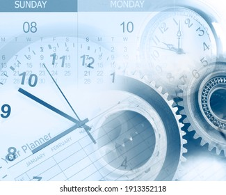 Clock faces, cogs, year planner and calendar composite