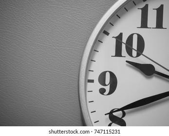clock feature in monotone - closeup clock at haft part nine O'clock,right hand of clock monotone