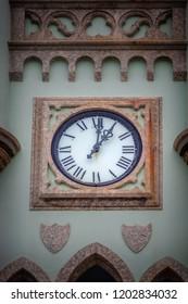 The clock of Fiscal Island (Ilha Fiscal) Palace in Guanabara Bay - Rio de Janeiro, Brazil