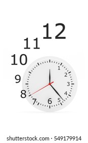 Clock flying figures on white background - 3d rendering