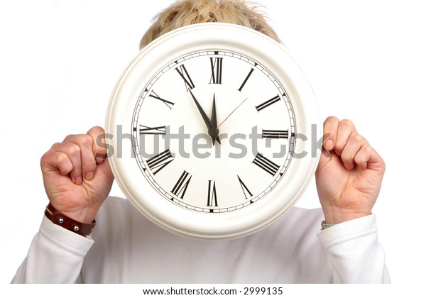 Clock and girl