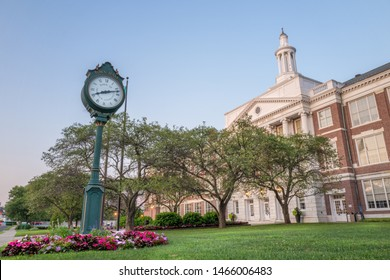 The Clock of the Greenwich City Hall, Connecticut  during a summer evening.