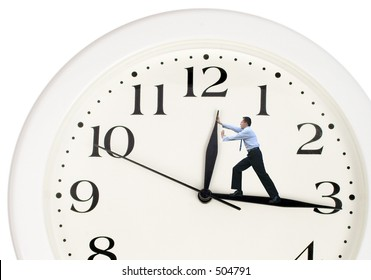 clock hands being pushed back by a business man - Shutterstock ID 504791