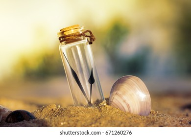 Clock hands in a bottle on sand, Time in a bottle concept, keep the best time or moment concept, Retro colos style