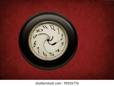 clock with hands and numbers distorted on red grunge background