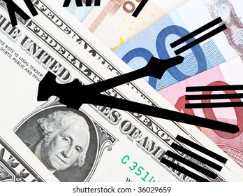 Clock hands overlaid over US dollars and European Euros