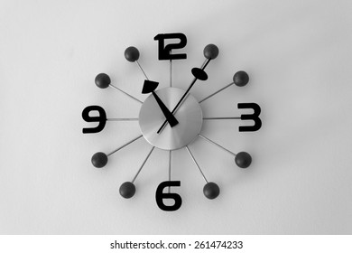 Clock hanging on wall