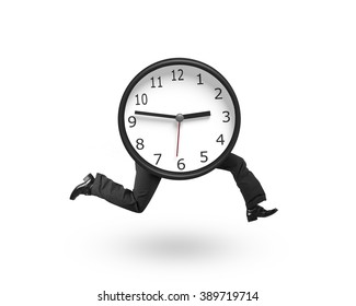 Clock with human legs running, isolated on white background.