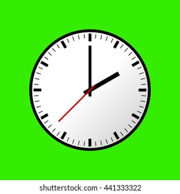 Clock icon, illustration, flat design. Green background. Raster copy of vector file