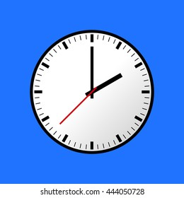Clock icon, illustration, flat design. Blue background. Raster copy of vector file.