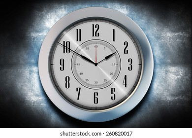 Clock Illustration. Wall Clock on Grunge Wall.
