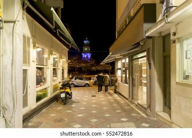 clock in Ioannina city Greece, night