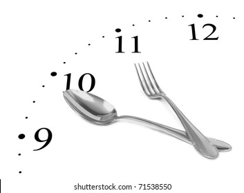 Clock made of fork and spoon isolated on white background