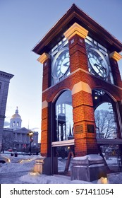 The clock in the main street of the Capital city of Concord in the State new Hampshire