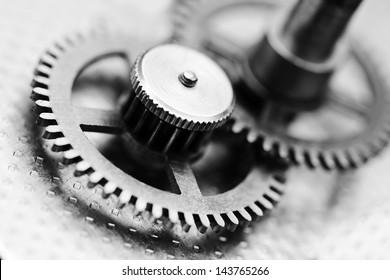 Clock mechanism, black and white photo