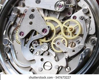 clock mechanism close-up view