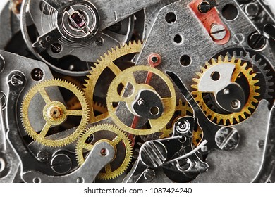 clock mechanism with gears and parts. Macro.