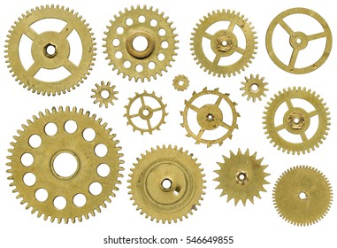 Clock mechanism, a set of pinion on white background