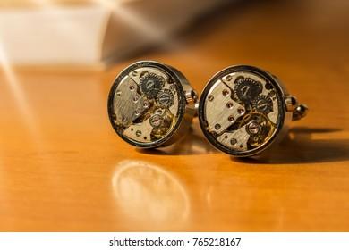 Clock mechanism silver cufflinks from steampunk props.