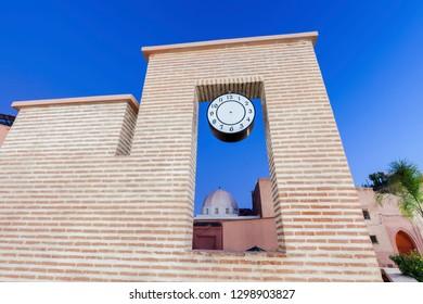 Clock in Medina of Marrakesh. Marrakesh, Marrakesh-Safi, Morocco.
