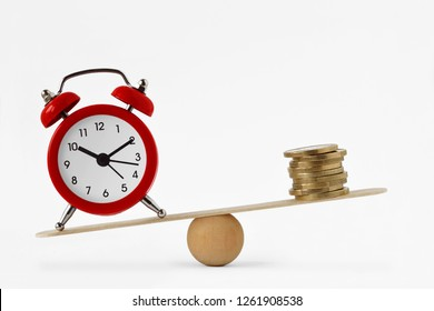 Clock and money on scales - Importance of time, time and money concept
