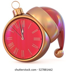 Clock New Year's Eve midnight hour countdown time Christmas ball Santa Claus hat decoration ornament red gold adornment. Traditional happy wintertime holiday future beginning pressure. 3d illustration