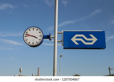 Clock And NS Sign At The Train Station Of Apeldoorn The Netherlands 2018