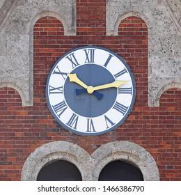 """Clock on """"Alte Saline"""" (Old Saline) in Bad Reichenhall, Bavaria, Germany."""