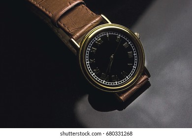 Clock on a black background