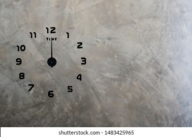 clock on cement wall background, At 24 o'clock, New Day Start Concept.