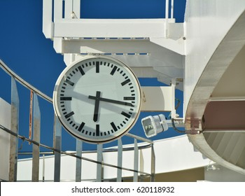 The clock on cruise ship deck