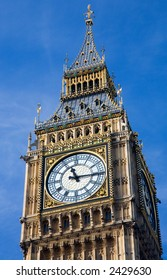 Clock on St Stephen's Tower (Big Ben) in the British Houses of Parliament
