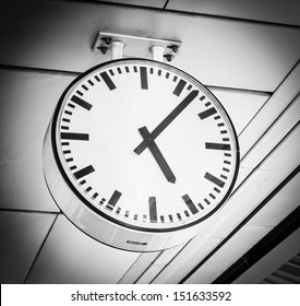 Clock on the wall (Process in vintage style)