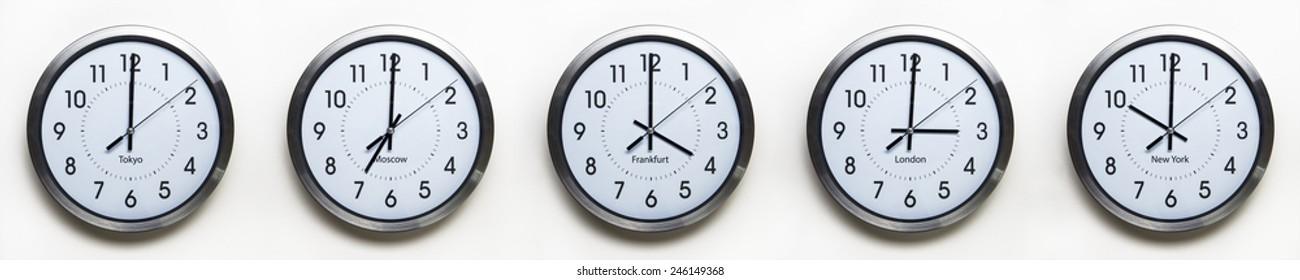 clock on the wall of time zones for trading around the world set at 3PM london GMT time