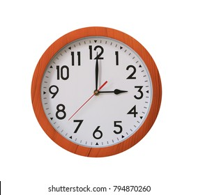 clock of pattern brown wood in three o'clock isolated on white background and have clipping paths.