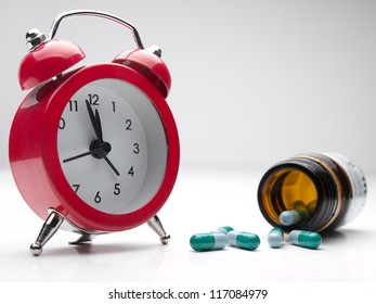 clock  and pills , for healthcare, medicine, addiction themes