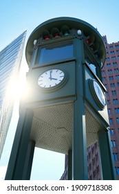clock at Potsdamer Platz in Berlin. It is also the first traffic light in Berlin.                               - Shutterstock ID 1909718308
