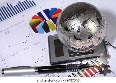 clock, puzzle, globe, diagram, finance, economics, business, chart, model, graph, diagram, concept, idea, table, schedule, list, paradigm, calculator, pen
